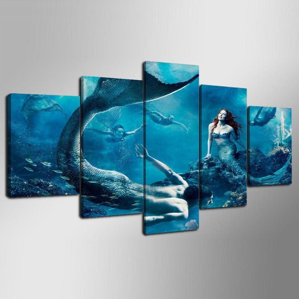 Modular Home Decor Canvas Wall Art 5 Panel Mermaid Blue Sea Inside Latest Blue Canvas Wall Art (View 11 of 15)