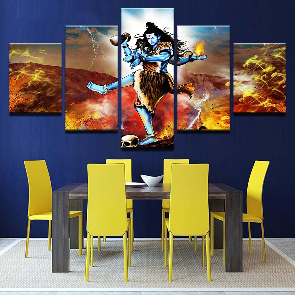 Modular Painting Canvas Wall Art Pictures 5 Piece India Tibetan Regarding 2017 India Canvas Wall Art (View 12 of 15)