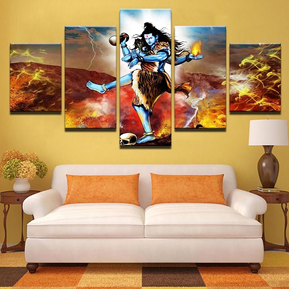 Modular Painting Canvas Wall Art Pictures 5 Piece India Tibetan Within Most Up To Date India Canvas Wall Art (View 13 of 15)