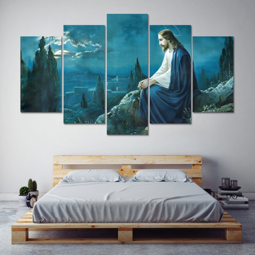 Modular Picture Wall Canvas Art Print 5 Panel Jesus Painting With Regard To Newest Jesus Canvas Wall Art (Gallery 12 of 15)