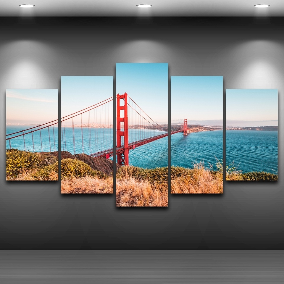 Modular Poster Wall Art Canvas Hd Printed Home Decor Frame 5 Throughout Most Up To Date Golden Gate Bridge Canvas Wall Art (View 6 of 15)