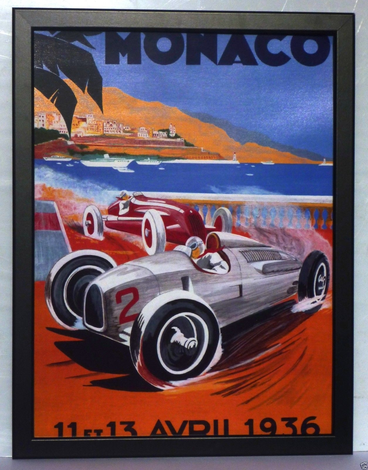 Monaco 1958 Grand Prix F1,monte Carlo Poster Large Framed Print Inside 2018 Framed Art Deco Prints (View 6 of 15)