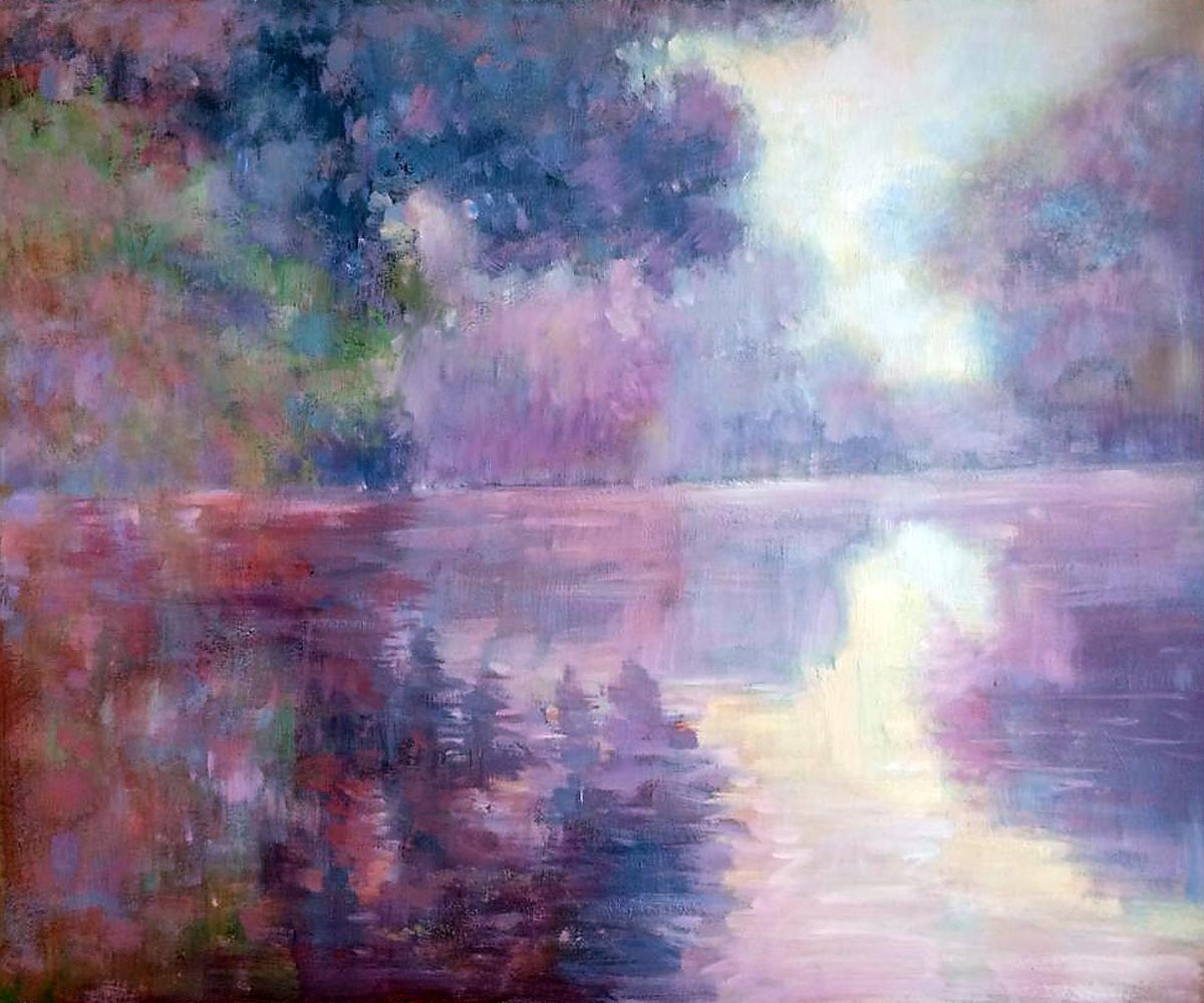 Monet – Misty Morning On The Seine (Pink) ~ Hand Painted Oil Throughout Best And Newest Monet Canvas Wall Art (View 7 of 15)