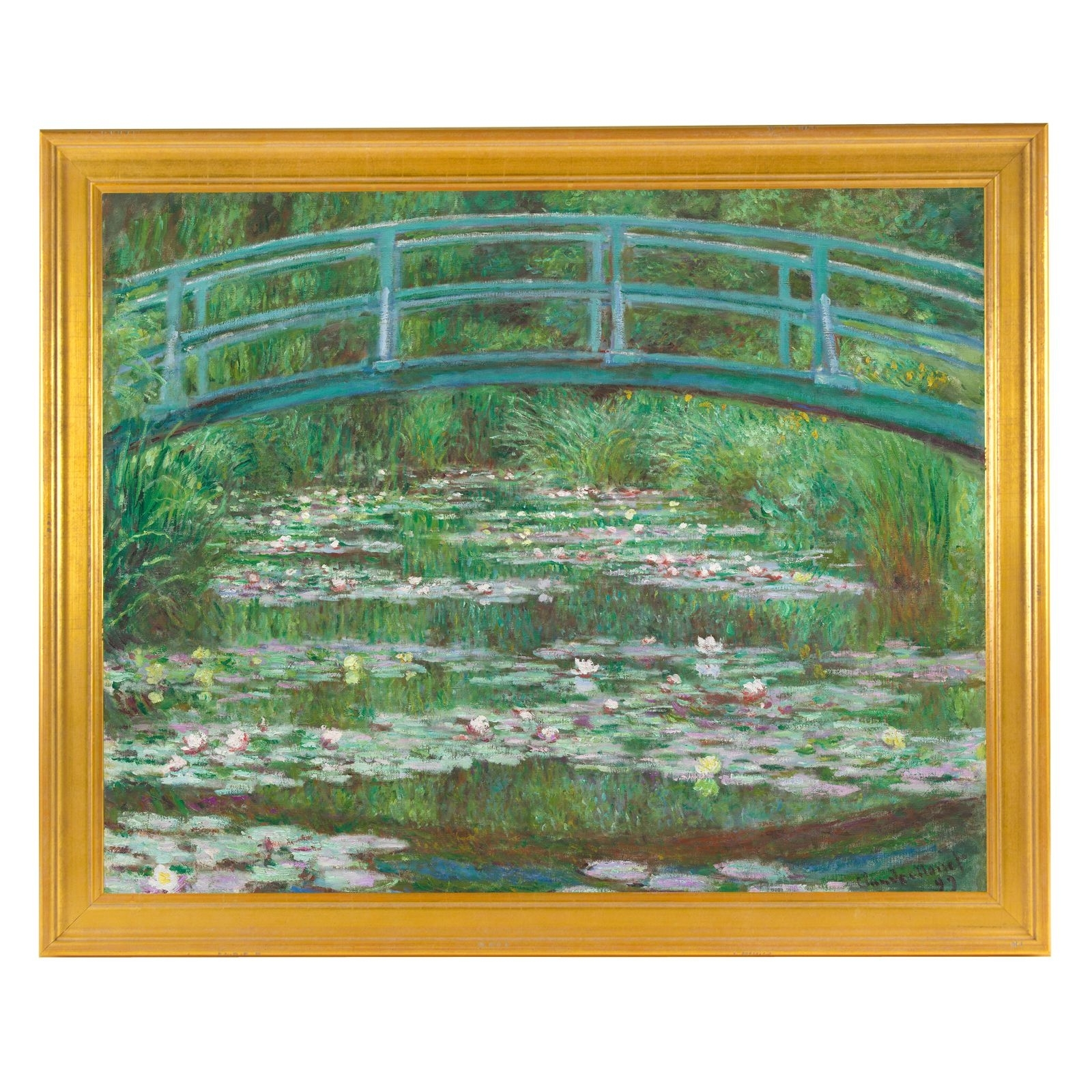 """Monet: The Japanese Footbridge, 22"""" Canvas Print, Framed Within Recent Monet Canvas Wall Art (View 6 of 15)"""