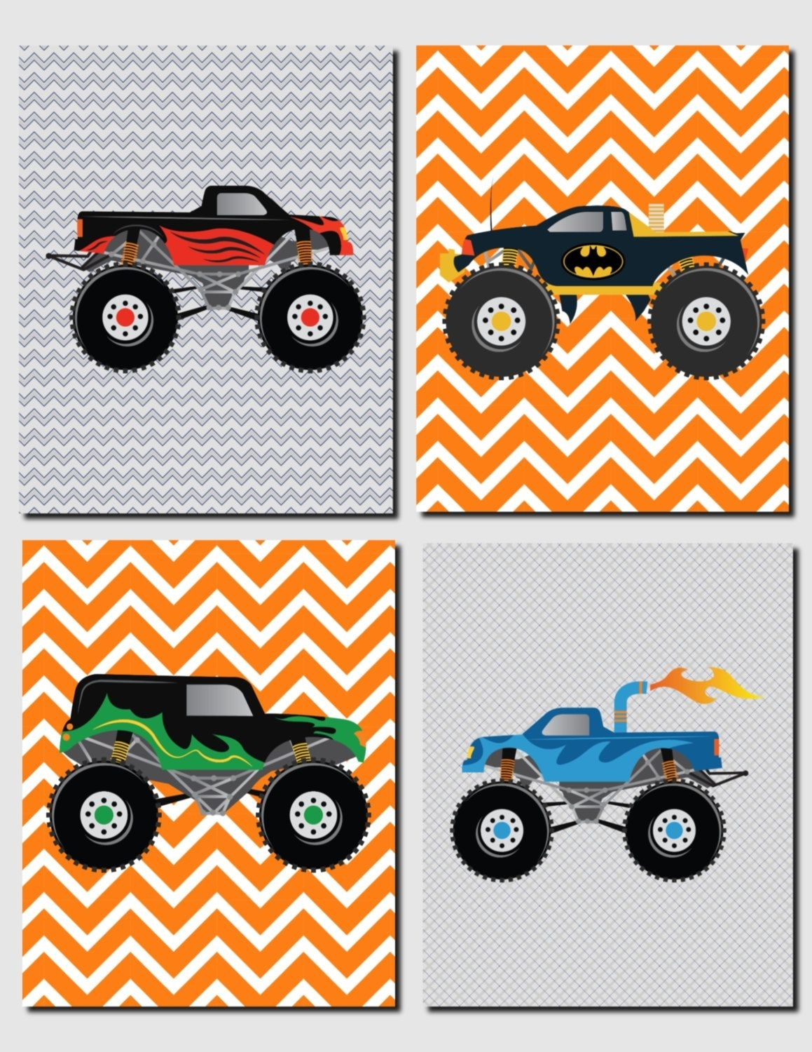 Monster Trucks Wall Art, Boy Nursery Art, Kids Wall Art, Toddler Pertaining To Newest Cars Theme Canvas Wall Art (View 5 of 15)