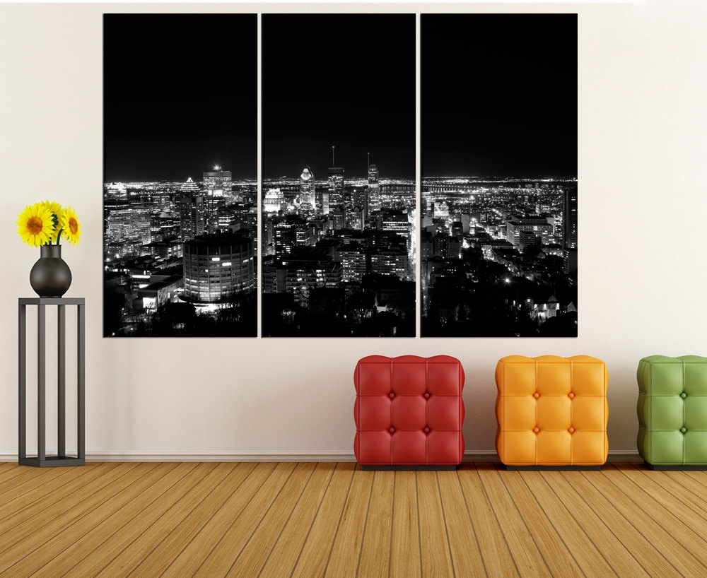 Montreal Skyline Canvas Print Wall Art Extra Large Wall Art Within Best And Newest Montreal Canvas Wall Art (View 10 of 15)