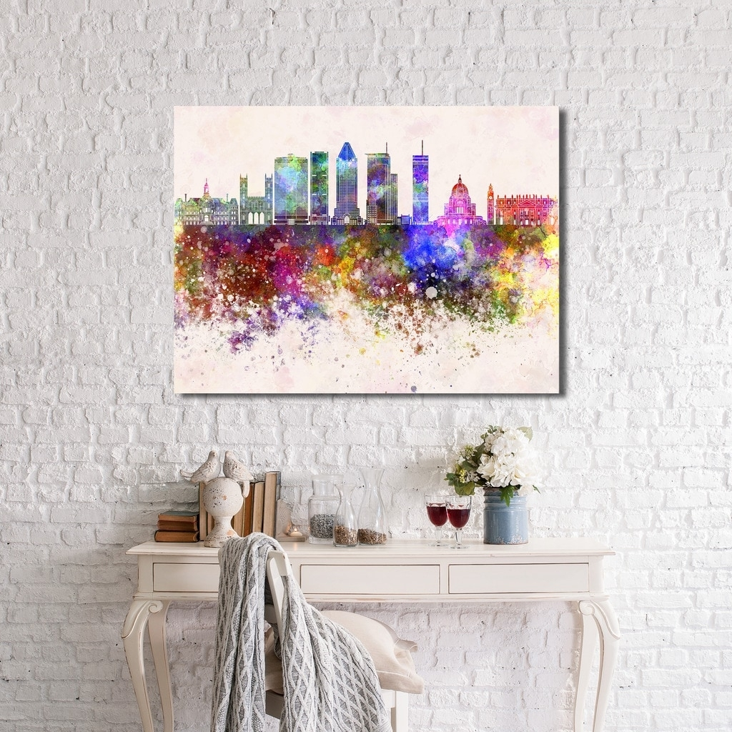 Montreal Skyline' Giclee Stretched Canvas Wall Art – Free Shipping Regarding 2018 Montreal Canvas Wall Art (View 11 of 15)