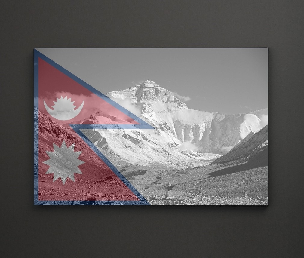 Mount Everest Nepal Flag A4 Framed/box Canvas A4 A3 A2 A1 Gift Inside Recent Leadgate Canvas Wall Art (View 10 of 15)