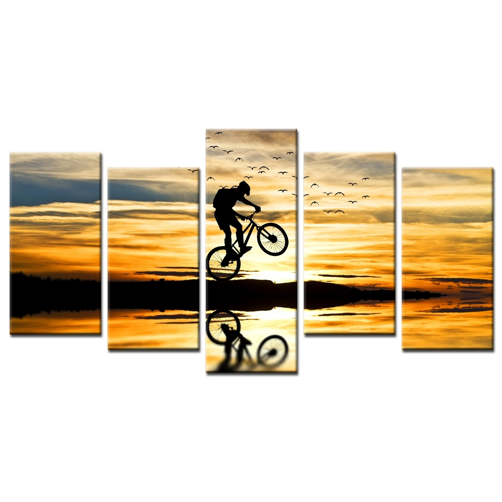 Mountain Bike Racing Canvas Wall Art Bike Jump Poster Prints Intended For Newest Jump Canvas Wall Art (View 12 of 15)