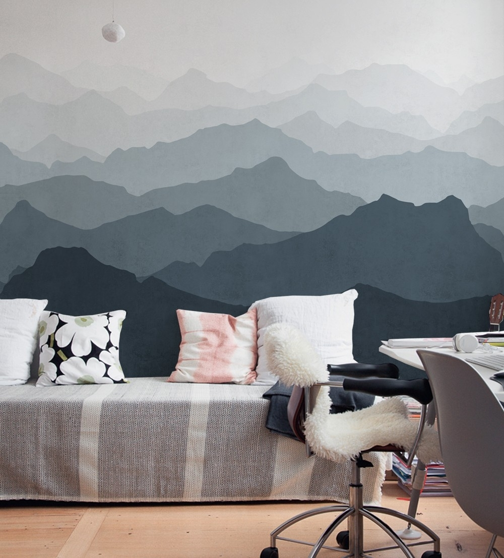 Mountain Mural Wall Art Wallpaper – Peel And Stick For Newest Wallpaper Wall Accents (View 9 of 15)