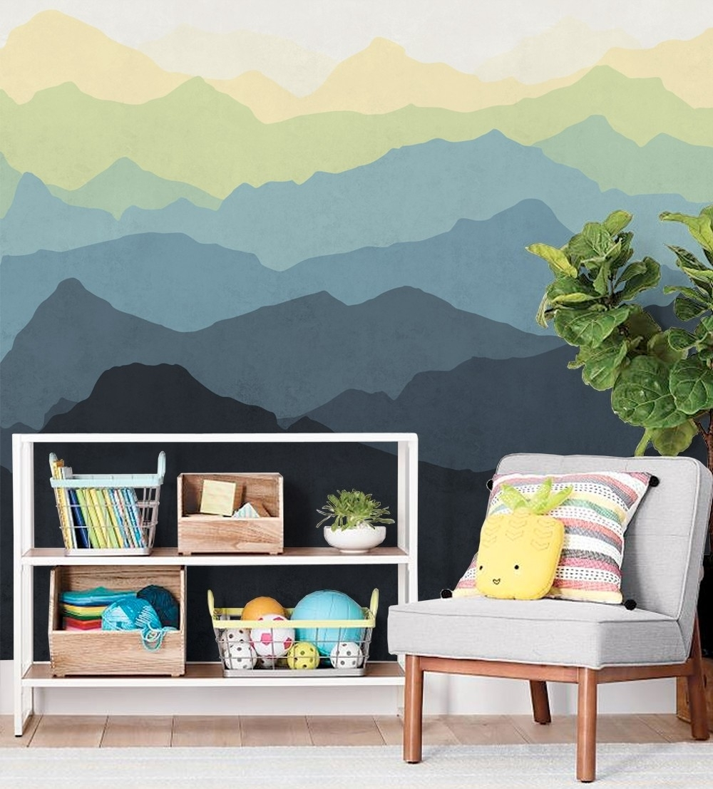 Mountain Mural Wall Art Wallpaper – Peel And Stick In Most Current Murals Wall Accents (View 10 of 15)