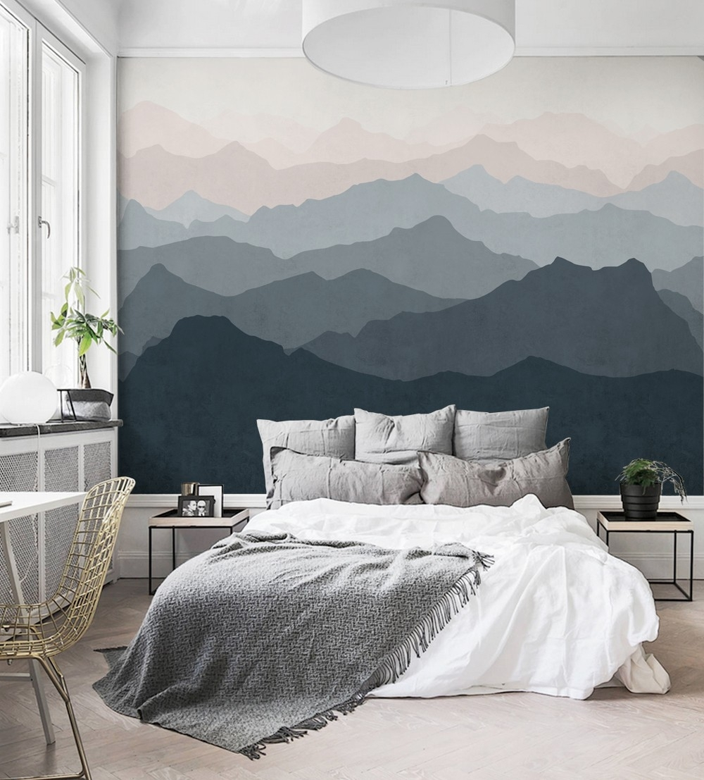 Mountain Mural Wall Art Wallpaper – Peel And Stick In Most Up To Date Wallpaper Bedroom Wall Accents (View 14 of 15)
