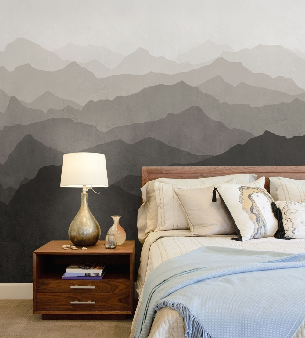 Mountain Mural Wall Art Wallpaper – Peel And Stick Intended For Most Up To Date Wallpaper Bedroom Wall Accents (View 9 of 15)