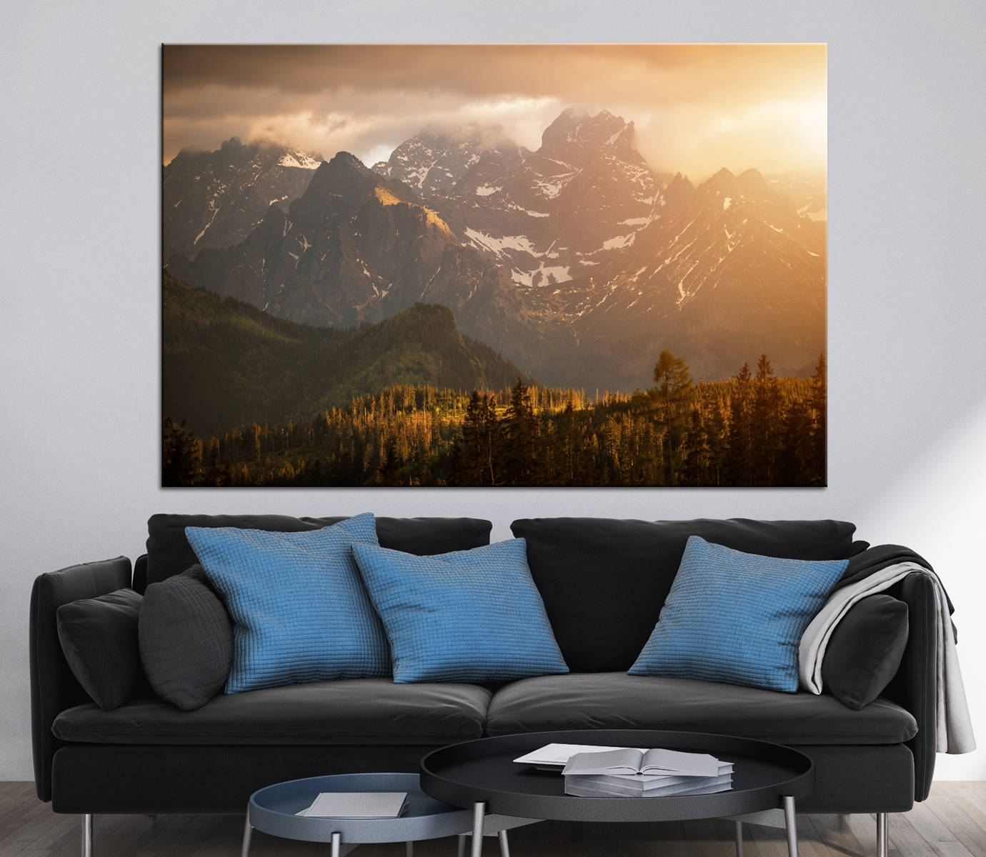 Mountains Sunset Scenery Photoprint Multi Panel Canvas Print Wild Pertaining To Most Up To Date Mountains Canvas Wall Art (View 4 of 15)