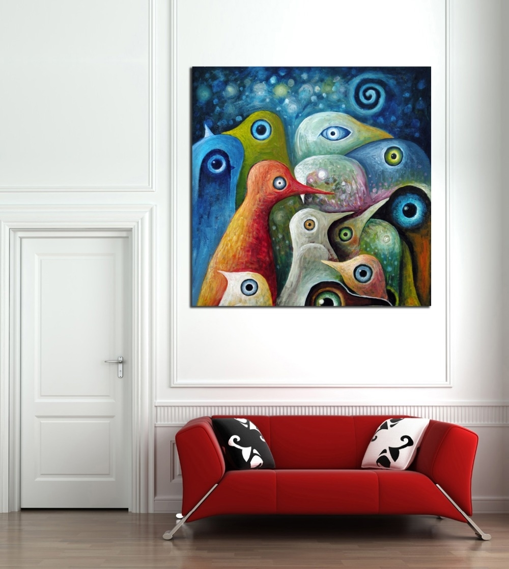 Multi Color Abstract Birds Painting Canvas Print Picture Modern Pertaining To Most Up To Date Murals Canvas Wall Art (View 2 of 15)