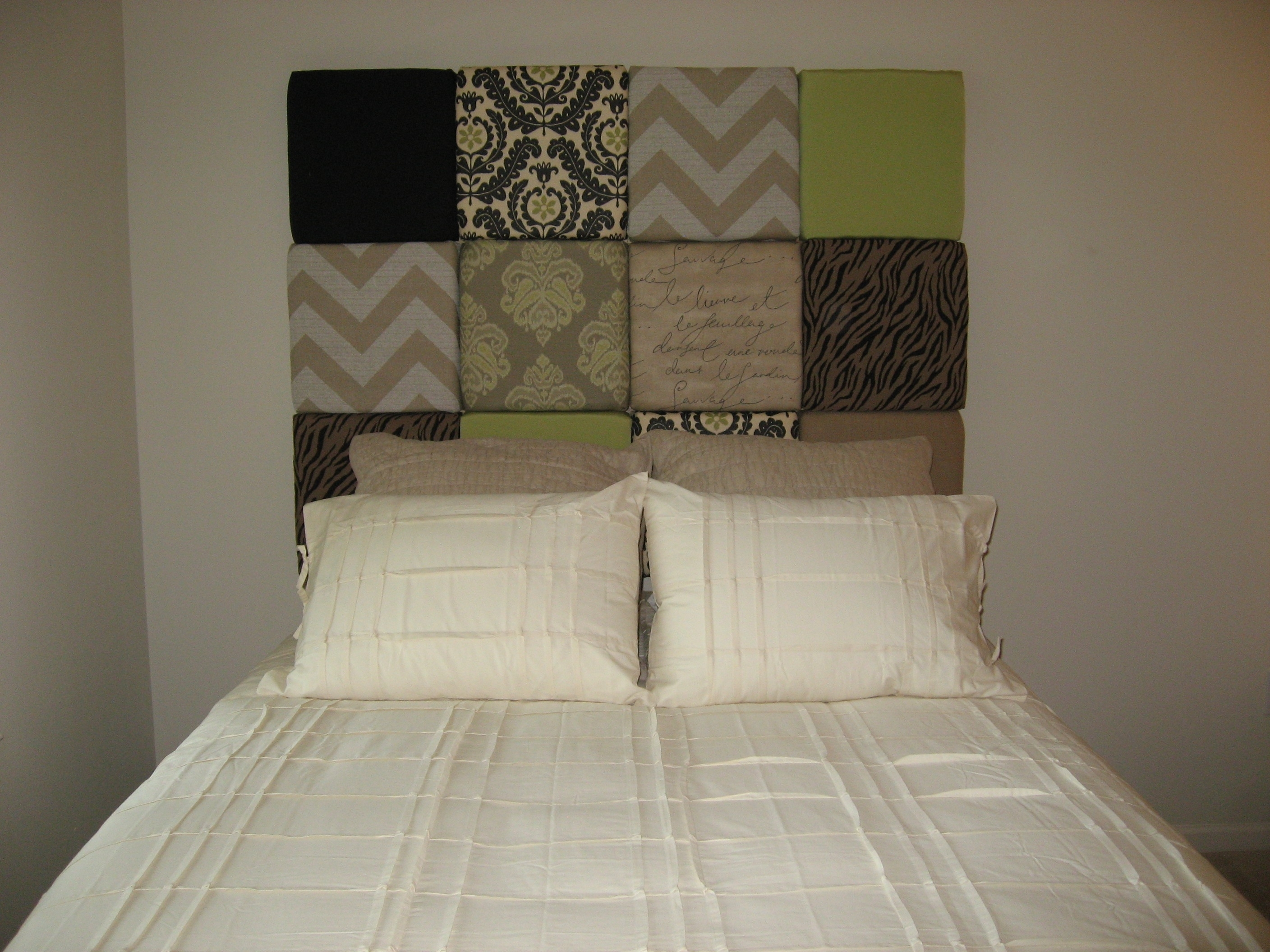 Multi Fabric Paneled Headboard » In Touch! – Finishing Touches For Most Current Fabric Covered Squares Wall Art (View 14 of 15)
