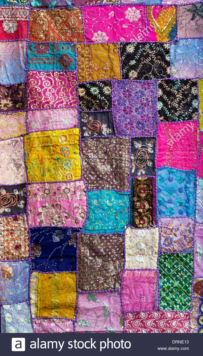 Multicoloured Indian Fabric Wall Hanging. Indian Craftwork Stock For Newest Indian Fabric Wall Art (Gallery 11 of 15)