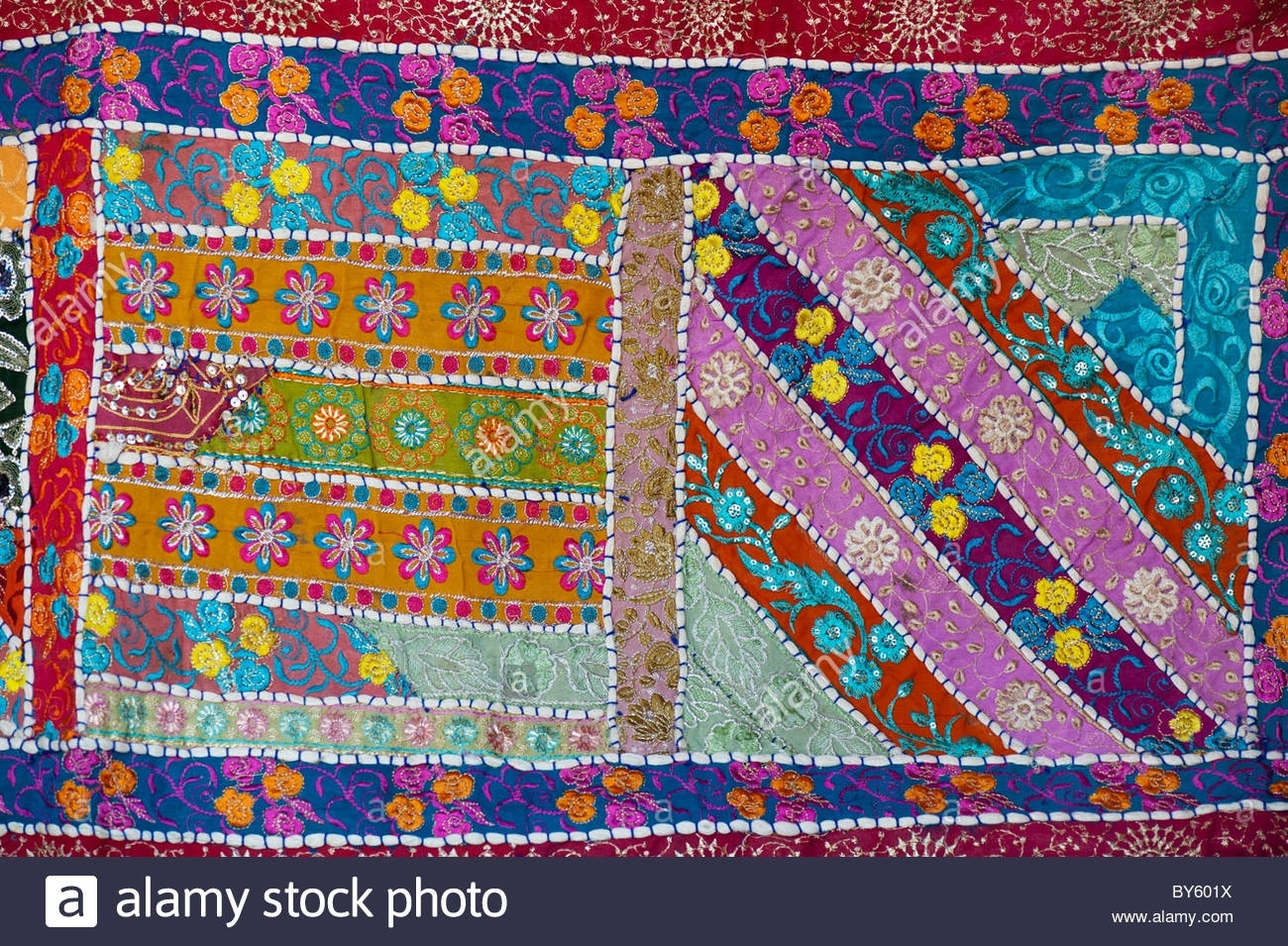 Multicoloured Indian Fabric Wall Hanging. Indian Craftwork Stock Throughout 2017 Indian Fabric Wall Art (Gallery 8 of 15)