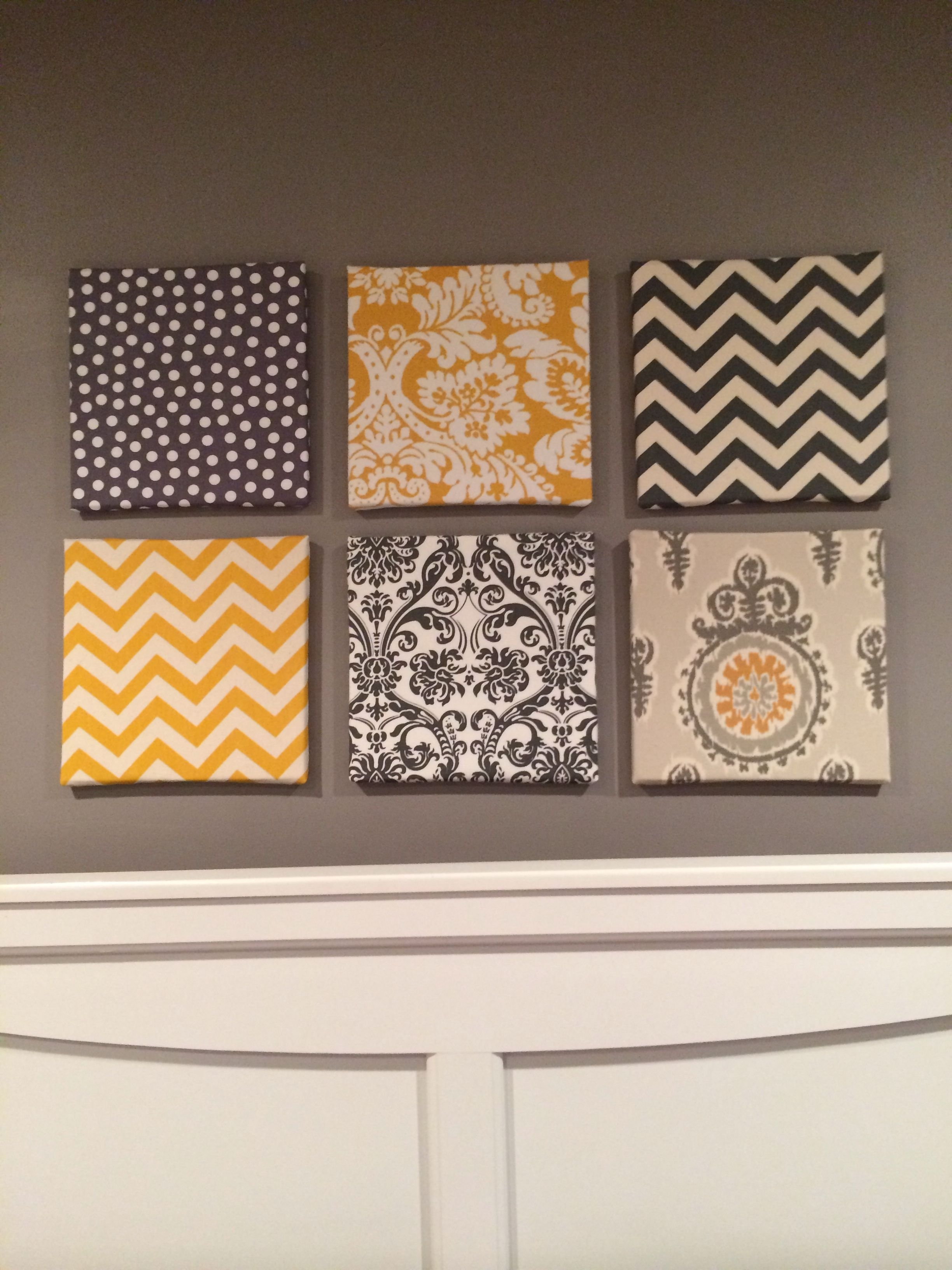 My Fabric Over Canvas Wall Art For My Gray And Yellow Themed Room With Most Recent Fabric Panel Wall Art With Embellishments (View 15 of 15)