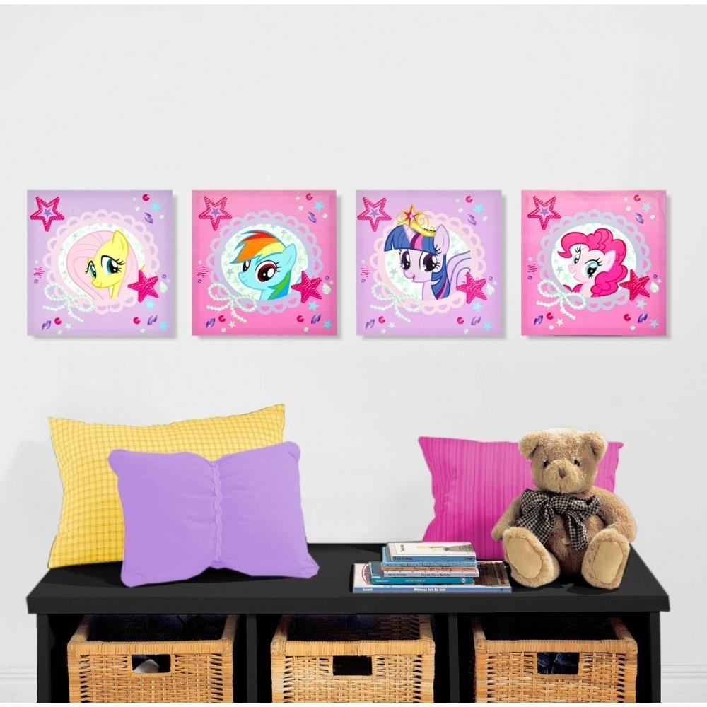 My Little Pony 4 Piece Canvas Wall Art – Walmart For 2018 Hello Kitty Canvas Wall Art (View 2 of 15)