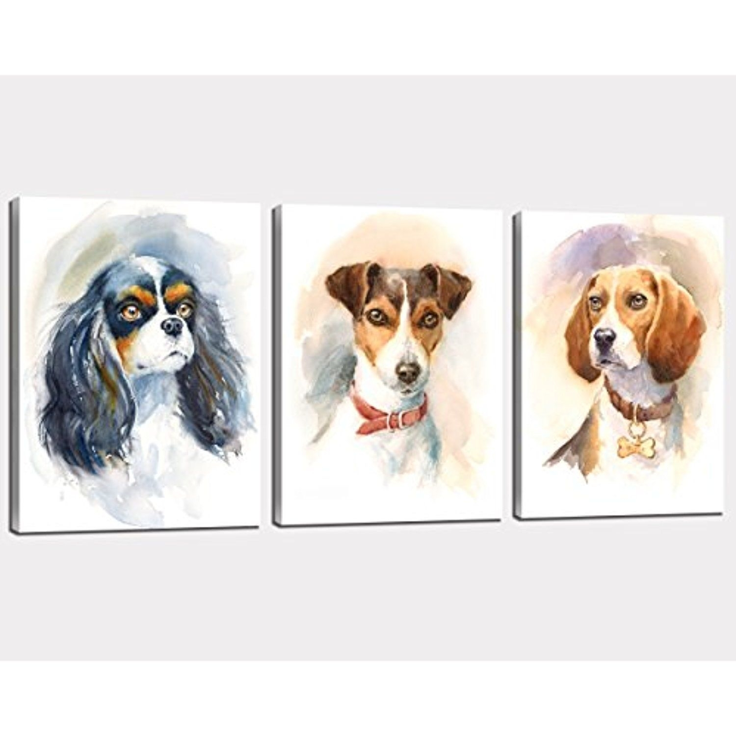 Nan Wind 3Pcs Modern Giclee Dogs Canvas Prints Cute Animals Wall pertaining to Recent Dogs Canvas Wall Art