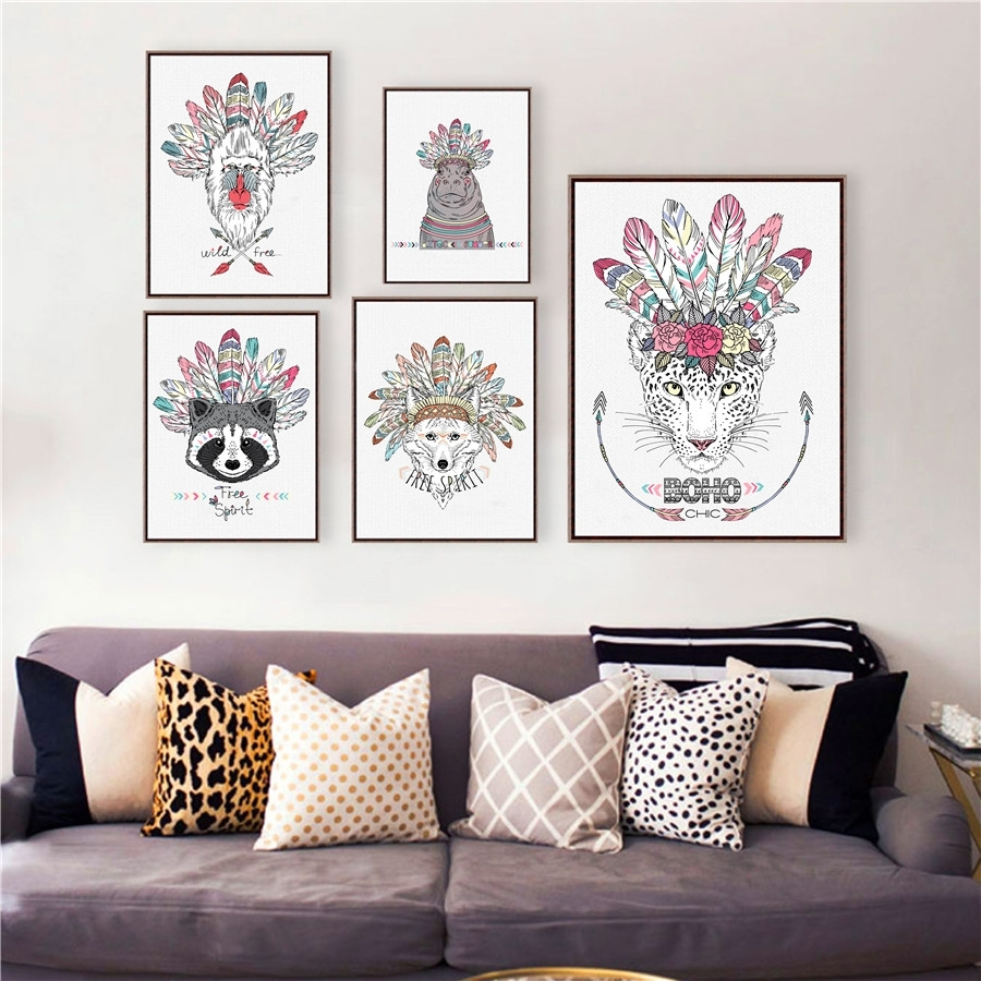 Native American Poster Art Prints , Hand Drawn Aztec Style Animal within Most Popular Ethnic Canvas Wall Art