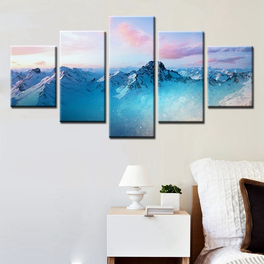 Natural Landscape Paintings Wall Art Snowy Mountains Cloudy Sky 5 Intended For 2018 Mountains Canvas Wall Art (View 13 of 15)