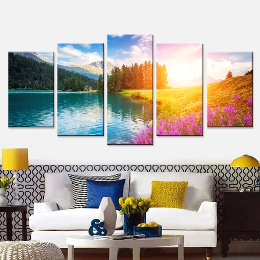 Nature Landscape Poster Sunset Wall Art Oil Painting Modular With Most Up To Date Nature Canvas Wall Art (View 11 of 15)
