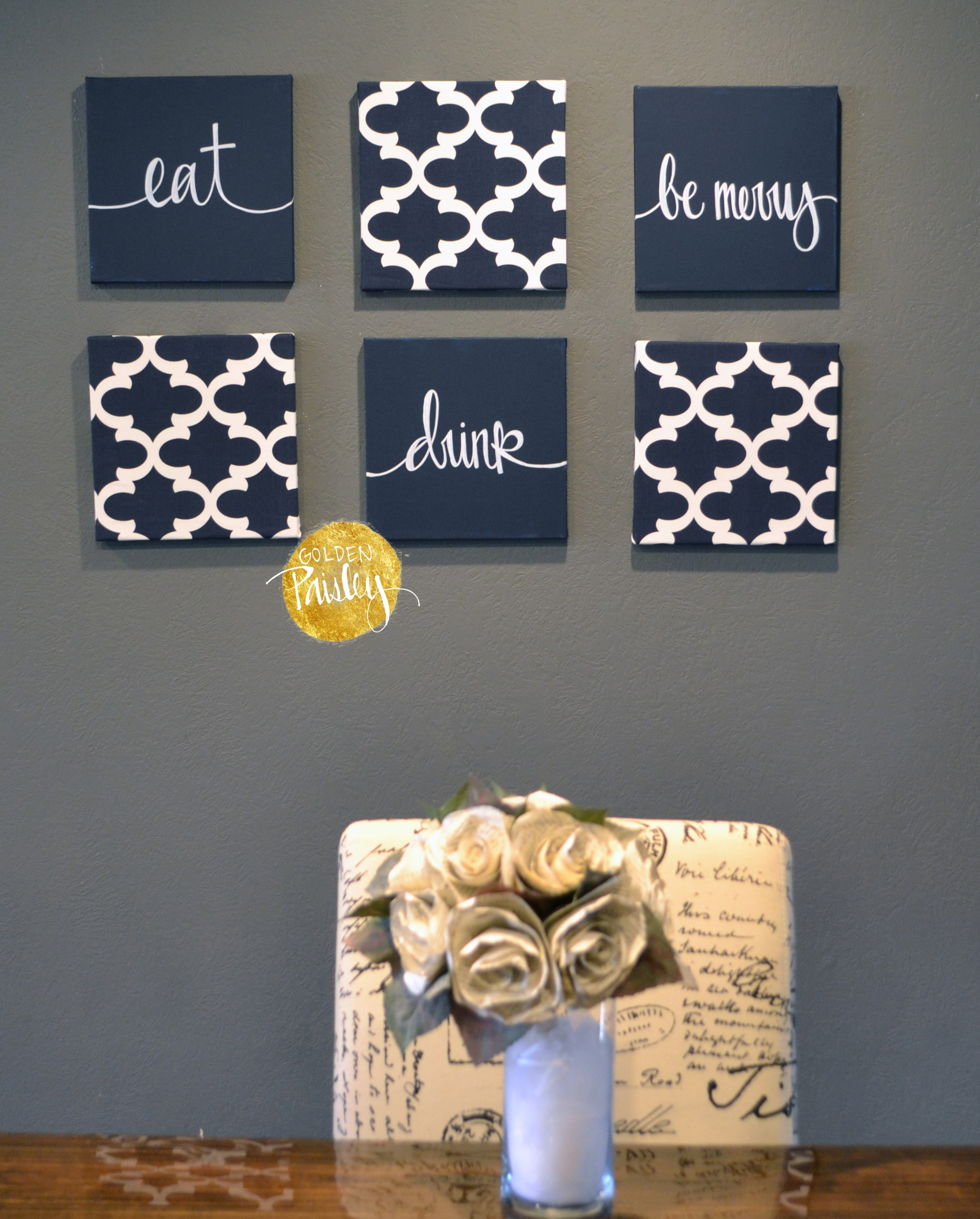 Navy Blue Wall Art Set Inside Latest Canvas Wall Art Quotes (View 10 of 15)