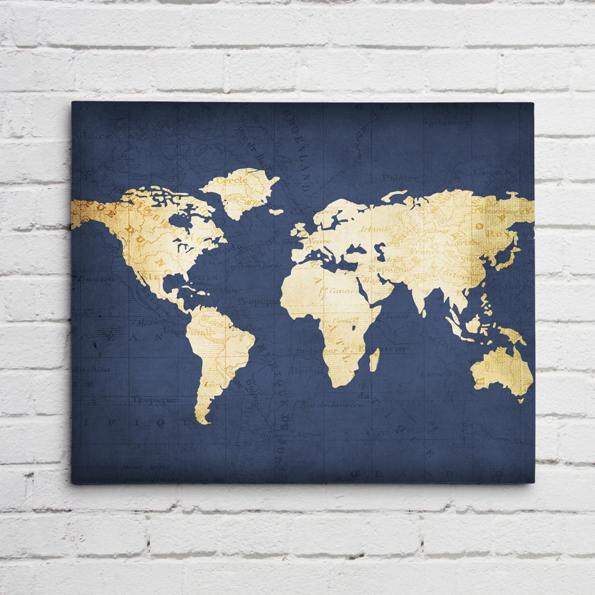Navy Blue World Map regarding Recent Maps Canvas Wall Art