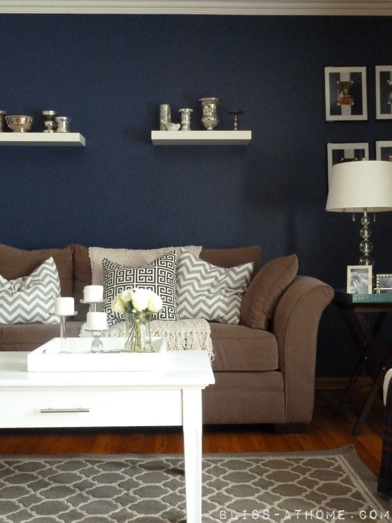 Navy Wall Hmmm Never Thought Of Navyit's A Neutral And It Would Within Most Recently Released Brown Couch Wall Accents (View 12 of 15)