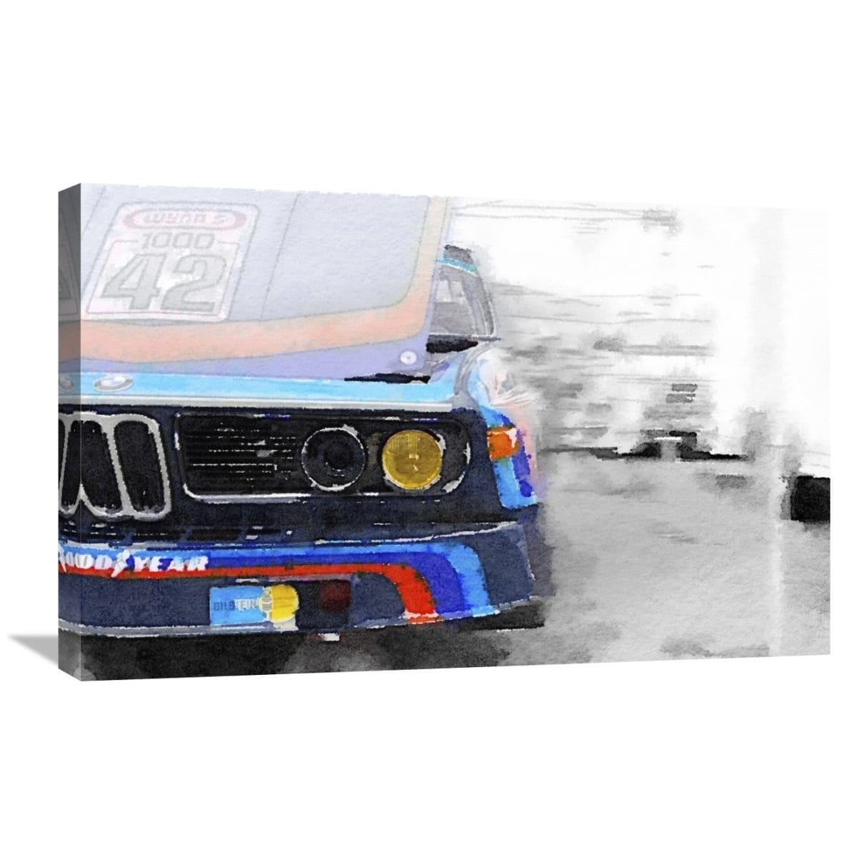 Naxart Studio 'bmw Lamp And Grill Watercolor' Stretched Canvas Throughout Latest Bmw Canvas Wall Art (View 14 of 15)