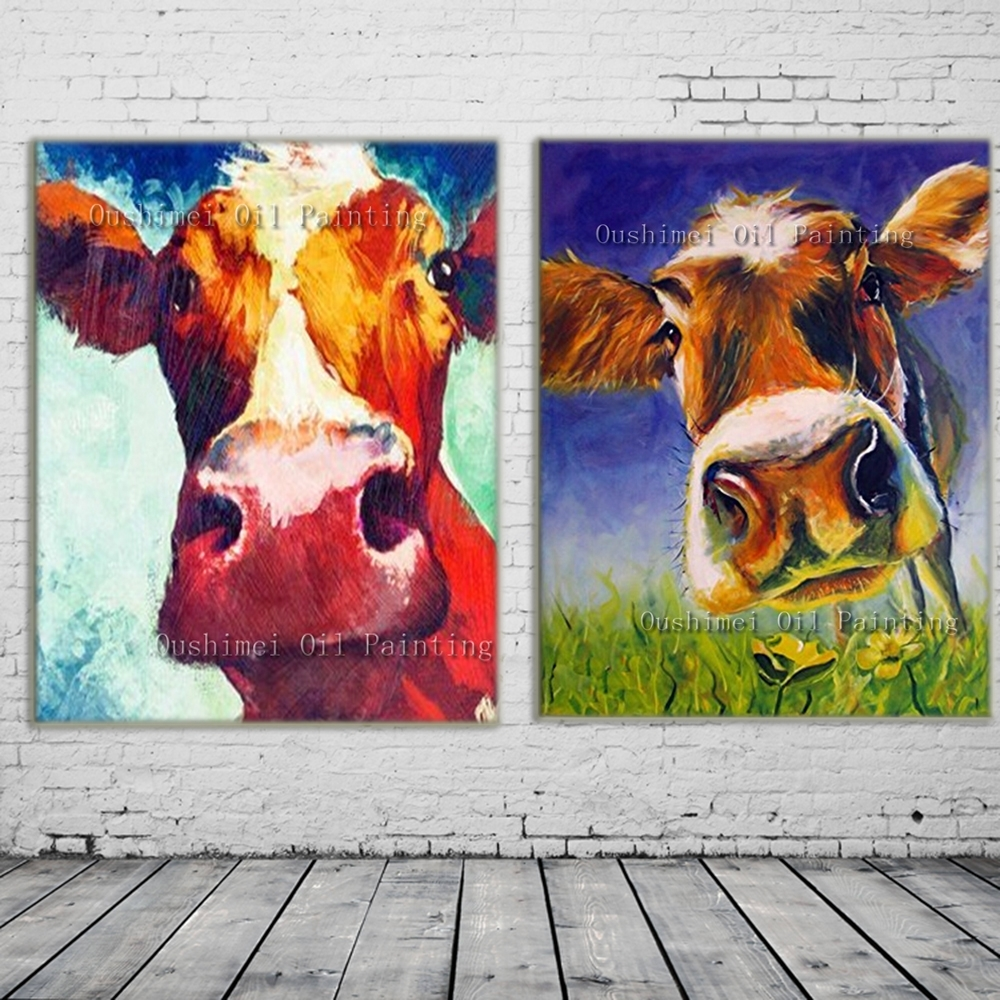 New 2017 Handmade Modern Mural Picture On Canvas Wall Art Cow Intended For Most Current Murals Canvas Wall Art (View 12 of 15)