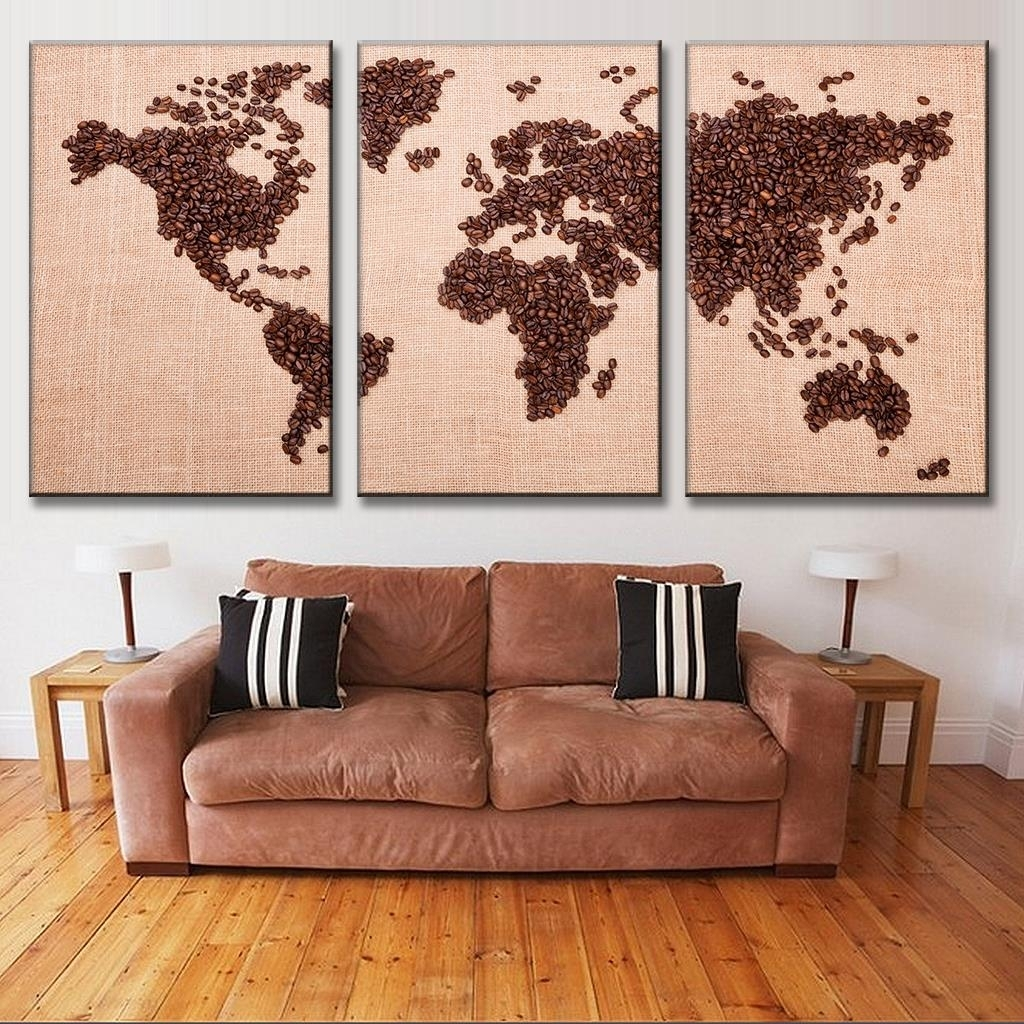 New 3 Pcs/set Creative Coffee Bean World Map Canvas Painting With Regard To Most Up To Date Coffee Canvas Wall Art (View 10 of 15)