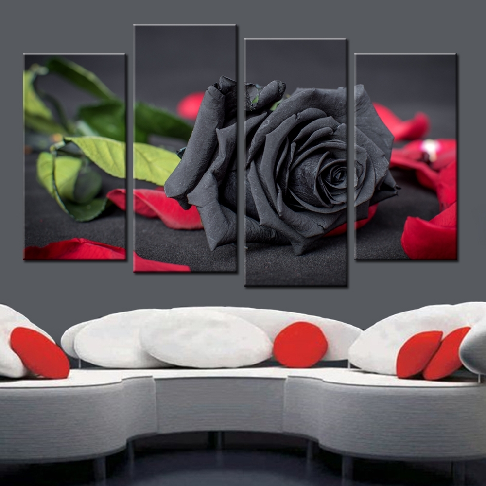 New 4 Piece Canvas Picture Black Rose Framless Posters And Prints for Recent Roses Canvas Wall Art