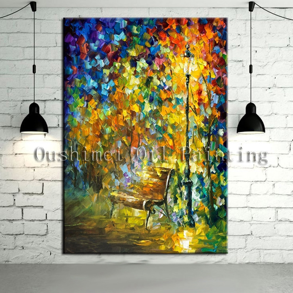 New Handmade Modern Mural Picture On Canvas Wall Art Knife Within Latest Murals Canvas Wall Art (View 13 of 15)