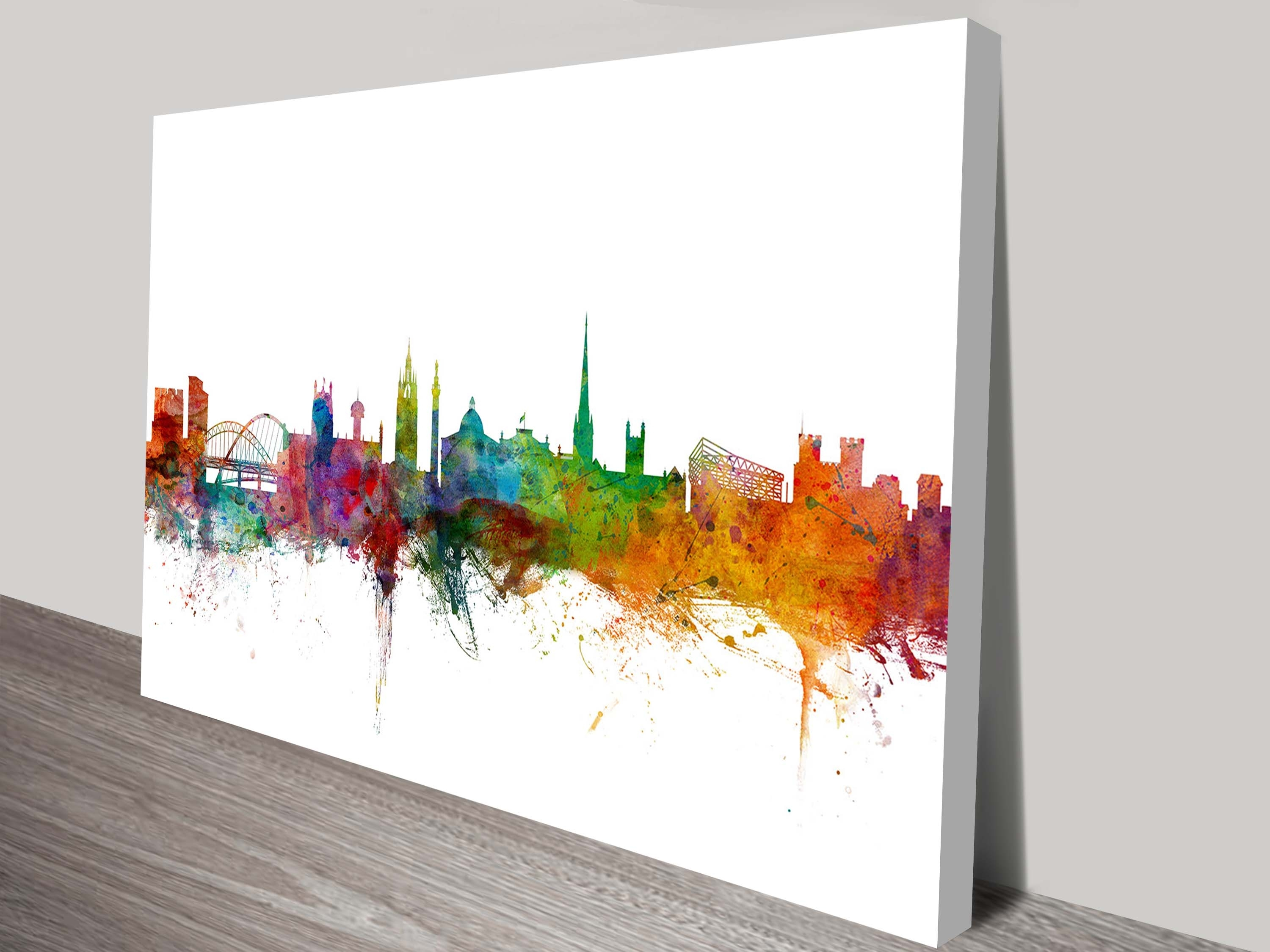 Newcastle England Skyline On Canvas Prints in Newest Newcastle Canvas Wall Art