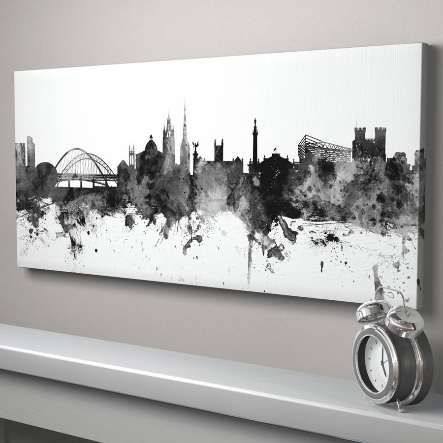 Newcastle Skyline Cityscape Black And Whiteartpause with Newest Newcastle Canvas Wall Art
