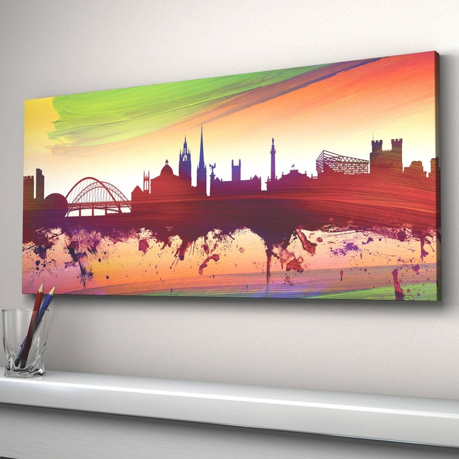 Newcastle Skyline Cityscape Printartpause | Notonthehighstreet with 2018 Newcastle Canvas Wall Art