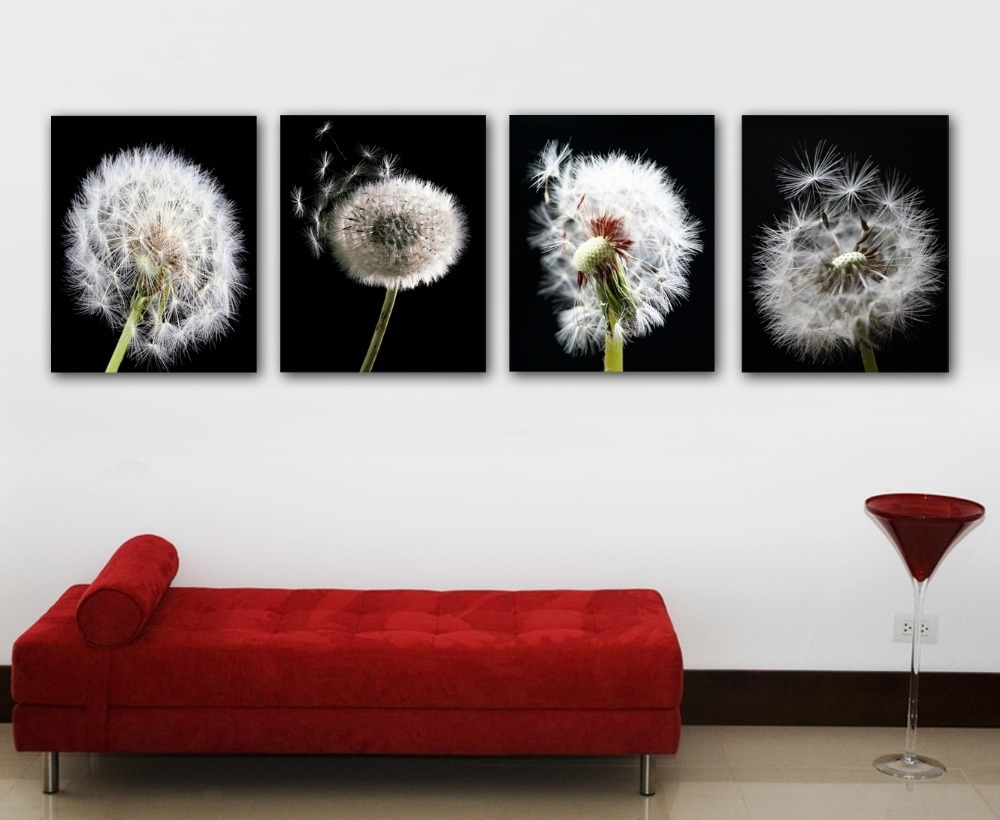 Nice 4 Pieces Background Painting Dandelion Painting Printed On Within Newest Dandelion Canvas Wall Art (View 13 of 15)
