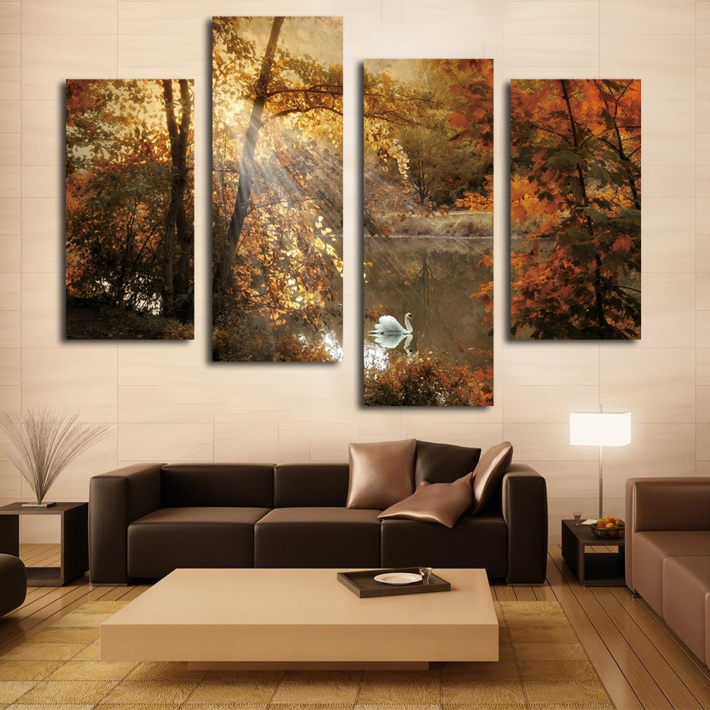 Nice White Swan Painting Fairy Multi Panel Canvas Wall Art Pertaining To Newest Living Room Canvas Wall Art (View 12 of 15)