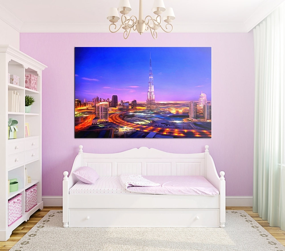 Night Dubai Canvas, Night City Large Art Painting, Dubai Business Within Recent Dubai Canvas Wall Art (Gallery 11 of 15)
