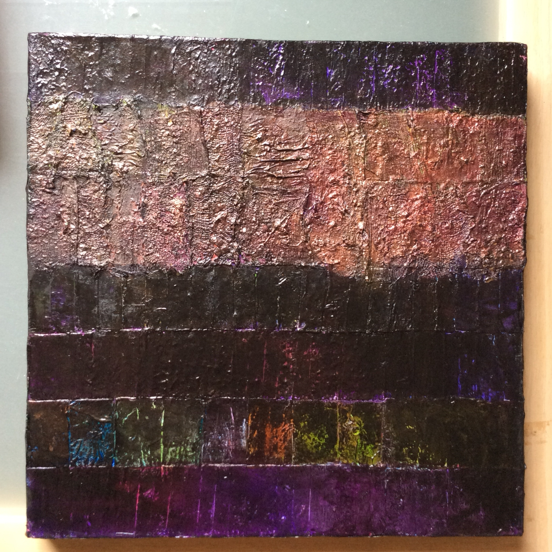 Night Strata, A Black And Bronze Collage, With Fabric, Paper Intended For Current Fabric Collage Wall Art (Gallery 4 of 15)