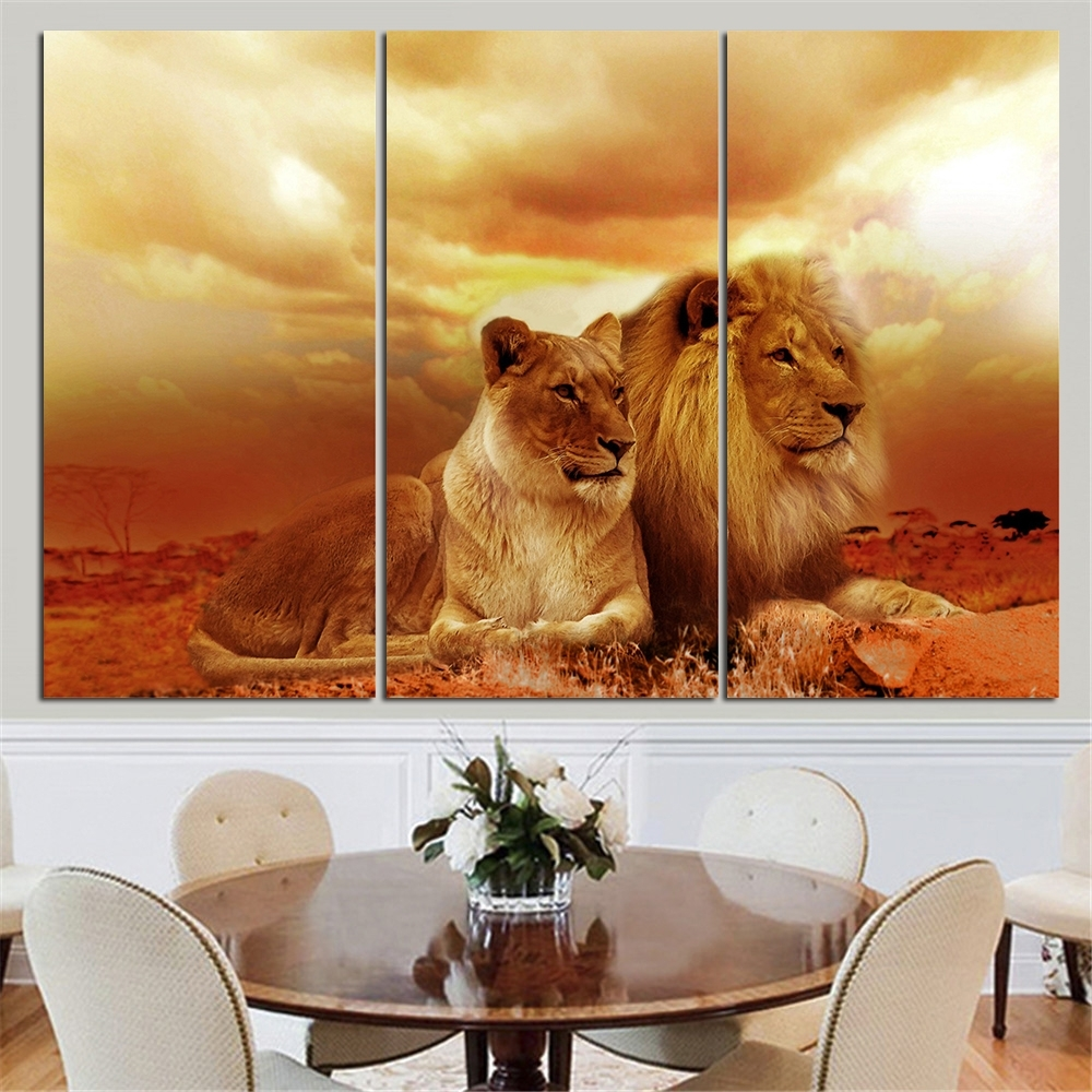 No Frame Animal Oil Painting Lion King Posters Wall Art And Prints intended for Most Up-to-Date Lion King Canvas Wall Art