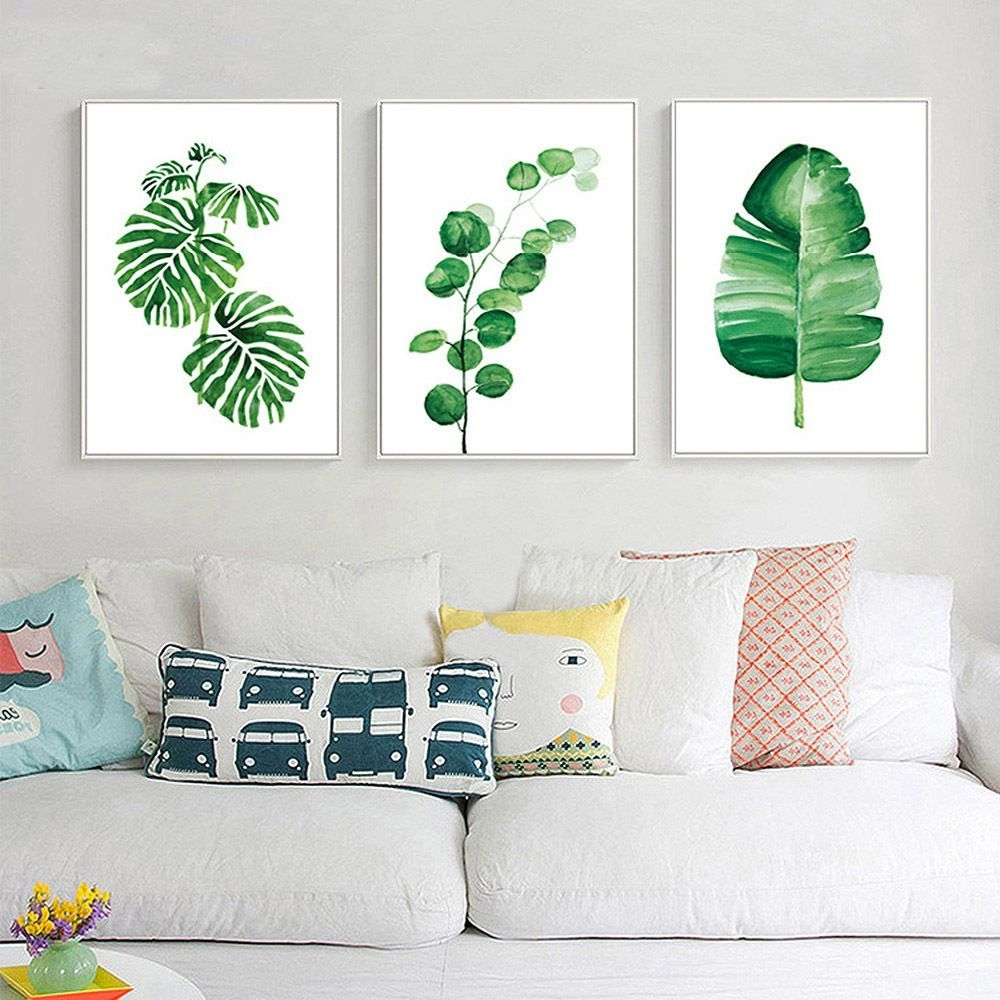 Nordic Decoration Watercolor Plant Leaves Poster Prints Canvas Inside Most Current Leaves Canvas Wall Art (View 8 of 15)