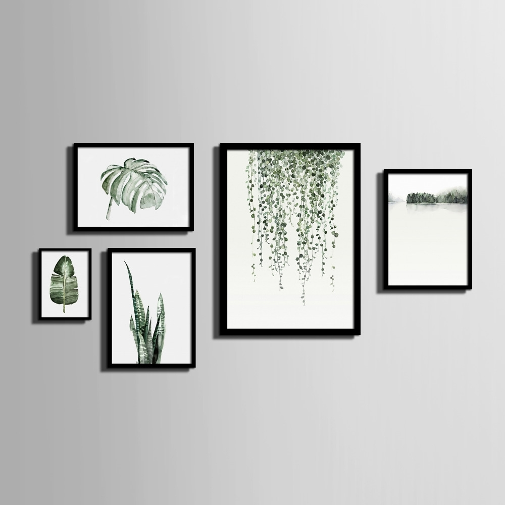 Nordic Style Art Print Framed Canvas Painting Art Green Leaves Intended For Most Current Framed Art Prints (View 4 of 15)