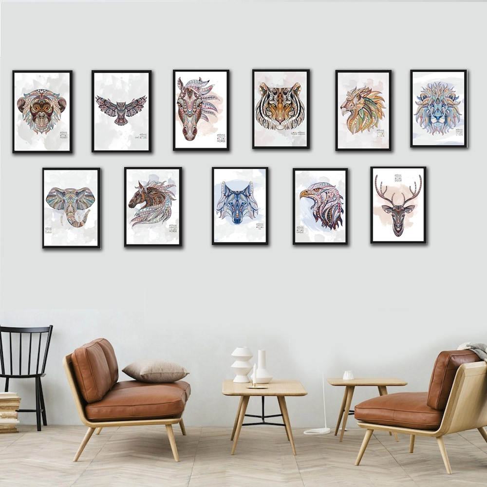 Nordic Wild Animal Canvas Painting A4 No Frame Art Print Poster Pertaining To Most Recently Released Framed Animal Art Prints (Gallery 7 of 15)