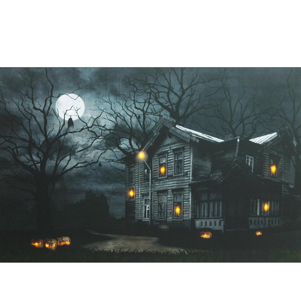 Northlight 15.75 In. X 19.5 In. Led Lighted Moonlit Halloween within Best and Newest Halloween Led Canvas Wall Art