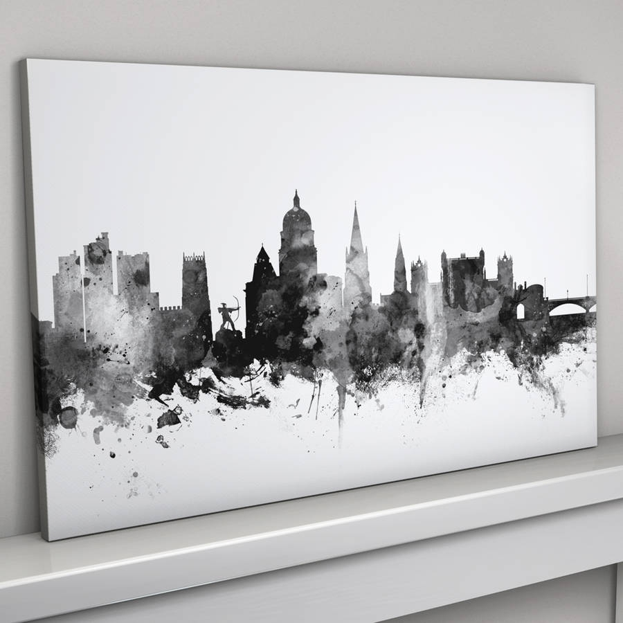Nottingham Skyline Cityscape Black And Whiteartpause with Newest Nottingham Canvas Wall Art