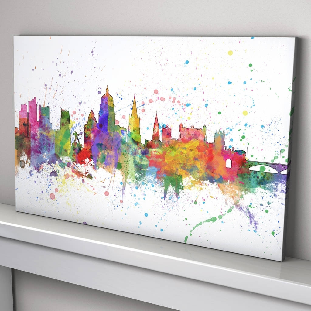 Nottingham Skyline Cityscape Paint Splashes Printartpause With Most Popular Nottingham Canvas Wall Art (View 9 of 15)